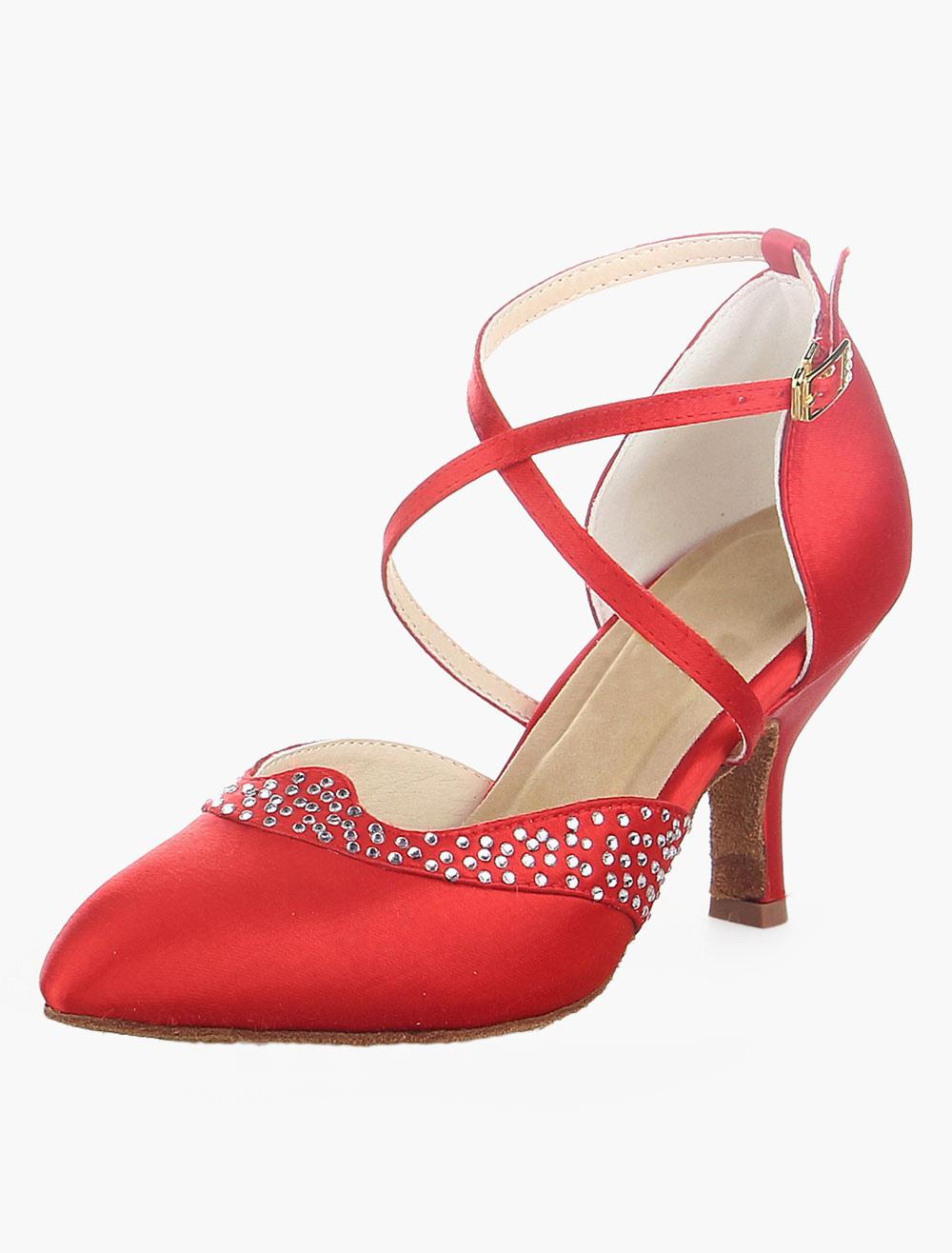 Red Rhinestone Pointed Toe Ballroom Shoes