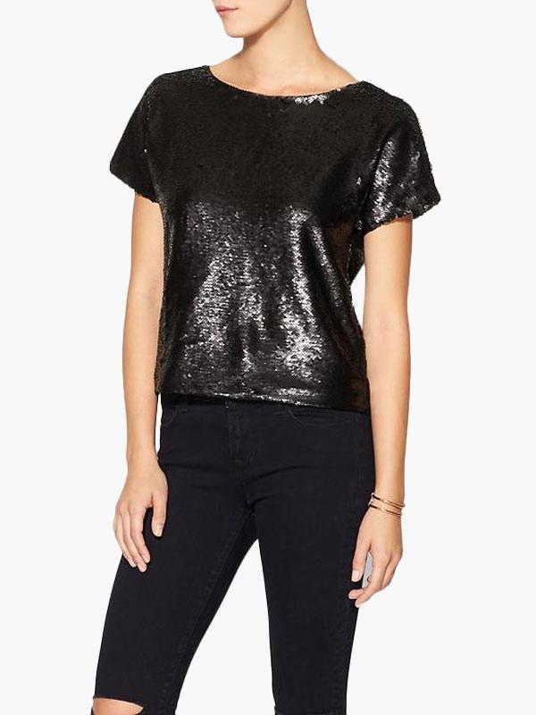 3277a69c Black Sequin Top Women's Short Sleeve Glitter T Shirt - Milanoo.com