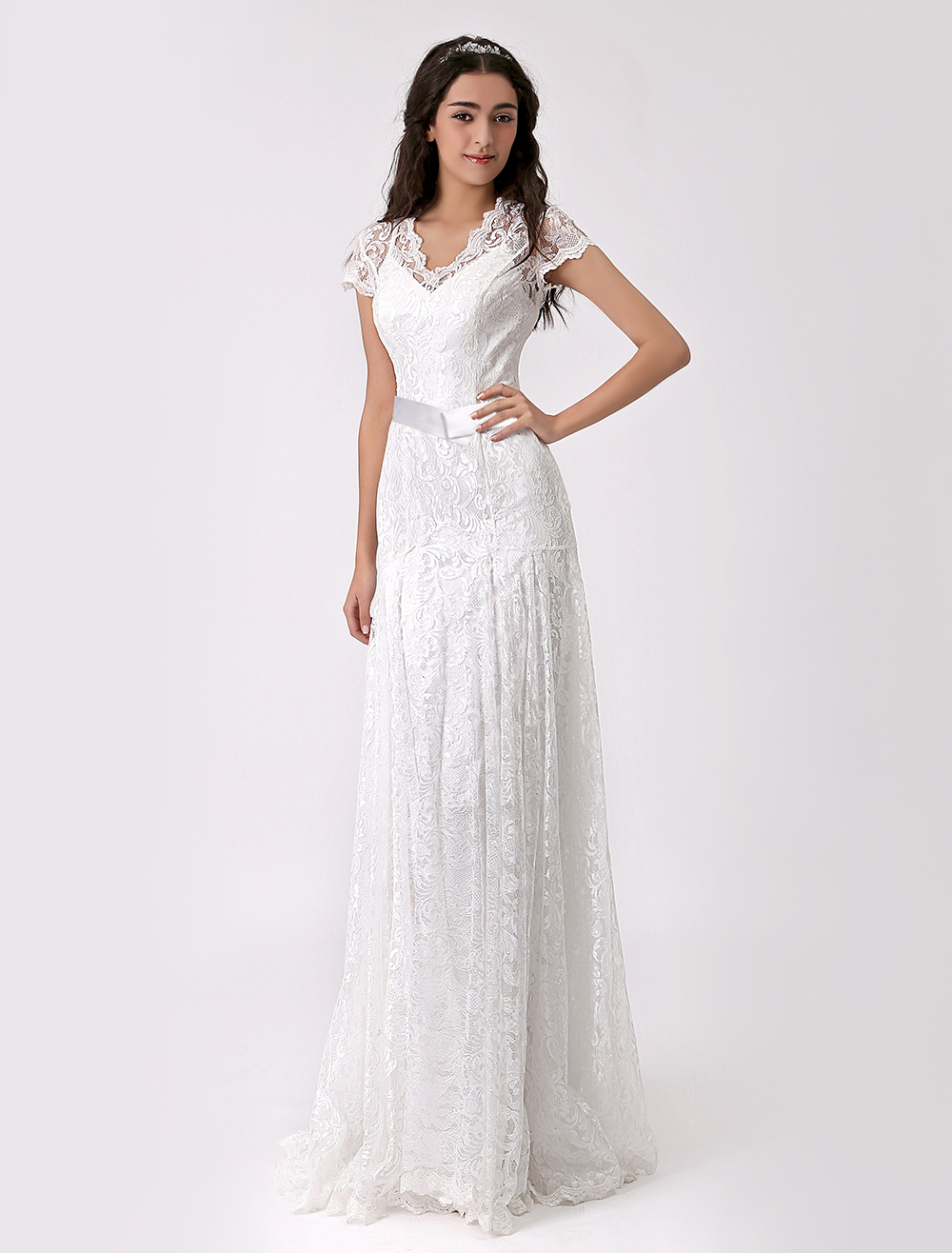 Two Piece Chiffon Bridal Gown with Lace Overlay Milanoo