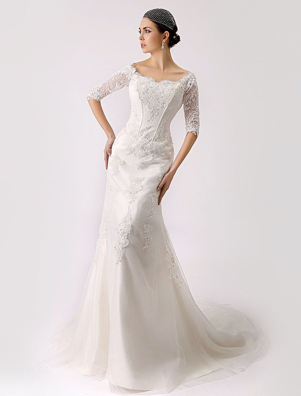 2018 Vintage Inspired Off the Shoulder Mermaid Lace Wedding Gown Milanoo
