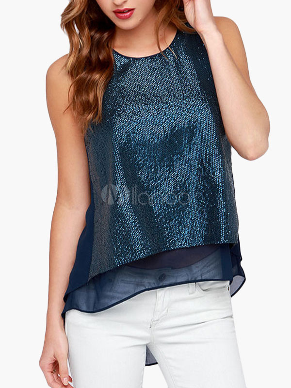 Stepped Glitter Signed Camis