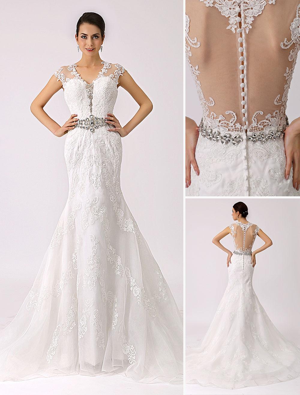 V Neck Trumpet Lace Wedding Dress with Sheer Back Milanoo