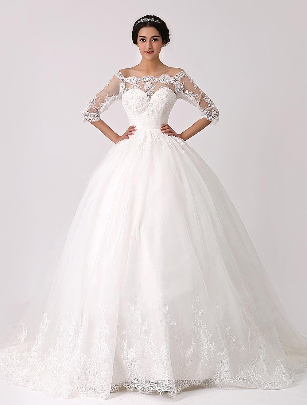 Off the Shoulder Princess Lace Wedding Dress with Illusion Neckline Milanoo