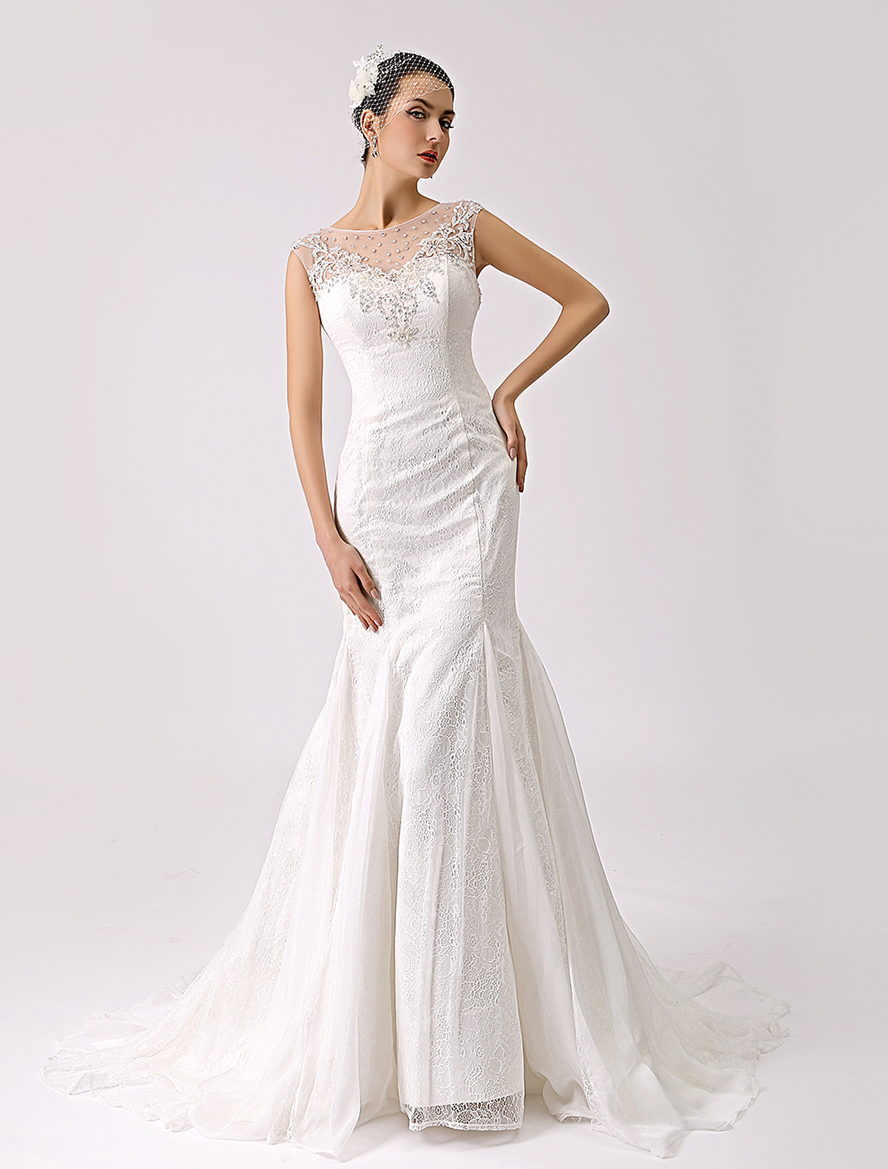 Illusion Jewel Neck Fit and Flare Lace Wedding Dress with Beads Milanoo