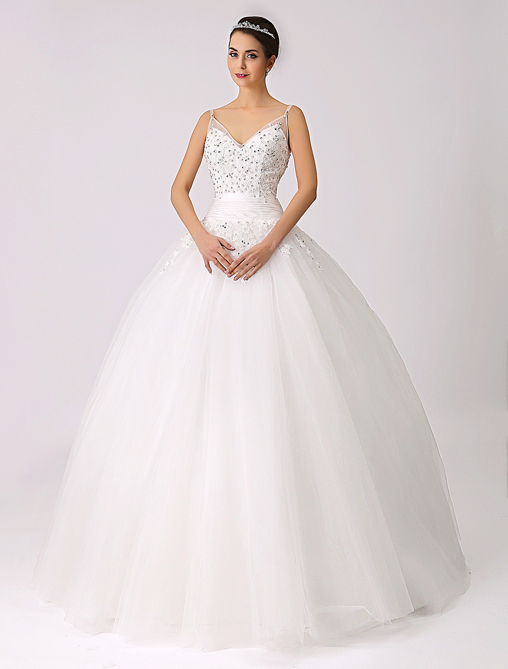 Spaghetti Straps Princess Wedding Dress with Beaded Lace Applique ...
