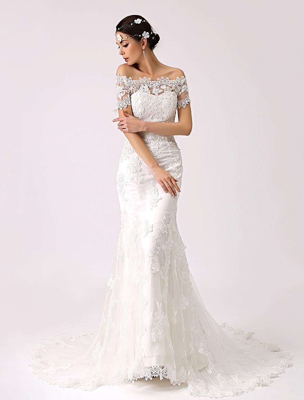 Vintage Inspired Off the Shoulder Mermaid Lace Wedding Dress Milanoo