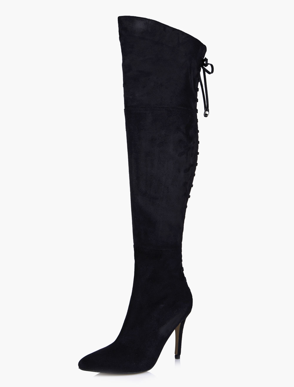 Buy Thigh High Boots Black Lace Up Pointed Toe Over Knee Boots for $69.51 in Milanoo store