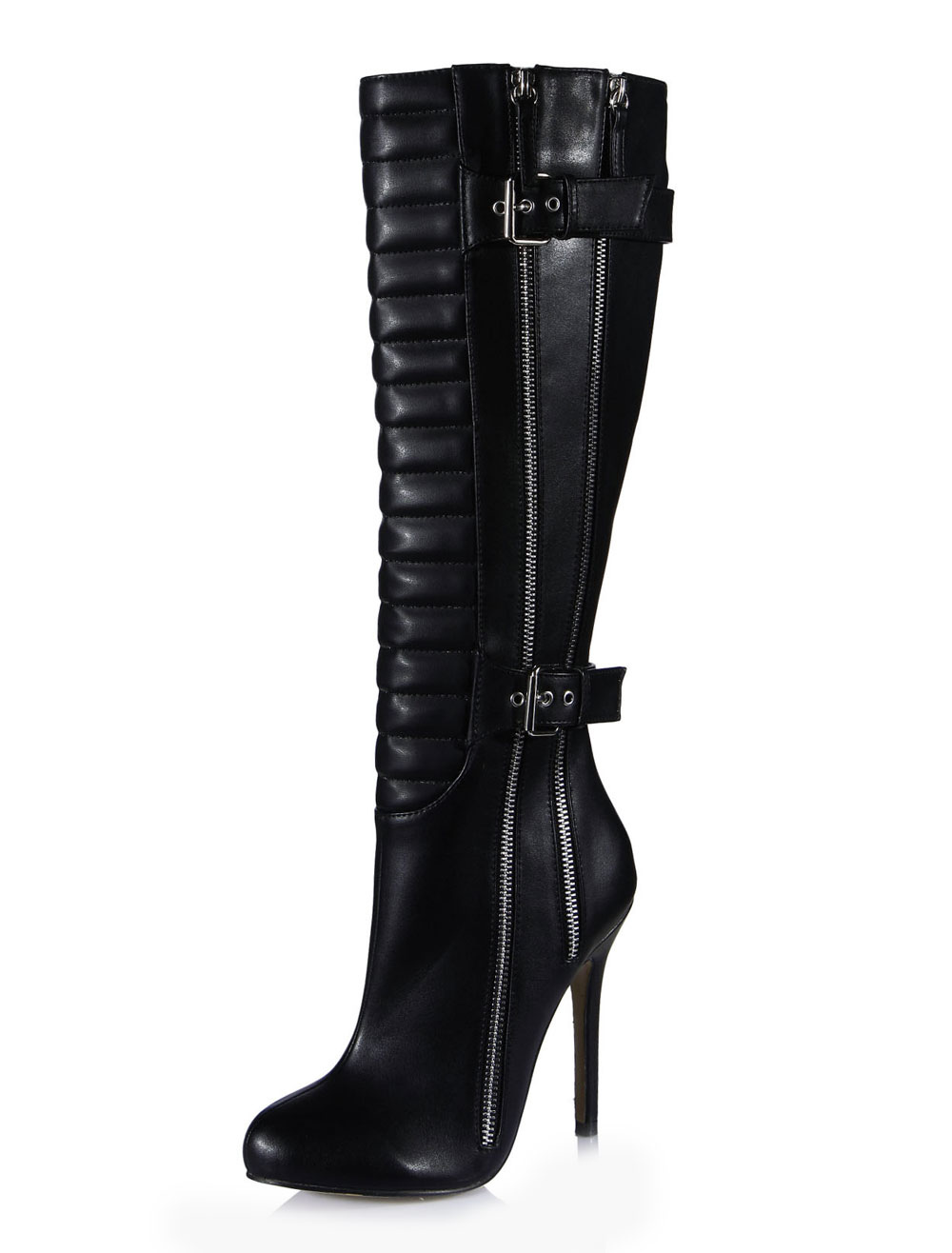 Fashion Black Zipper Buckled Boots