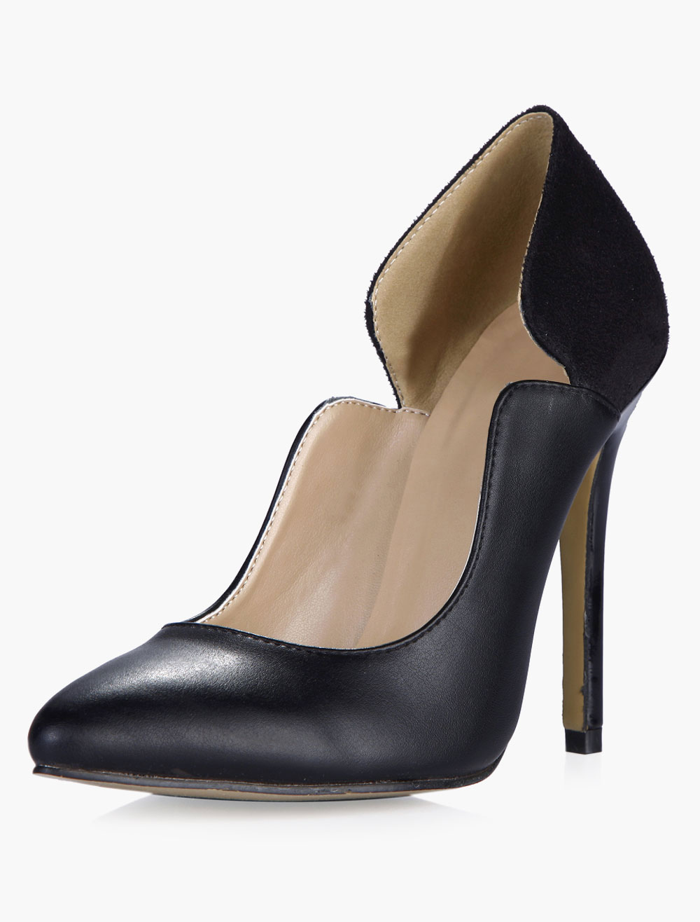 Buy Black PU Leather Pointy Toe High Heels for $54.14 in Milanoo store