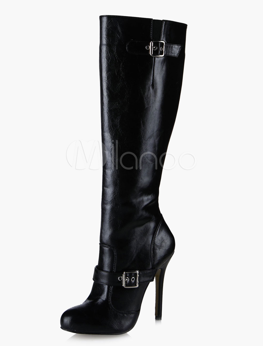 Black Buckled Hight Heel Zipper Mid Calf Boots