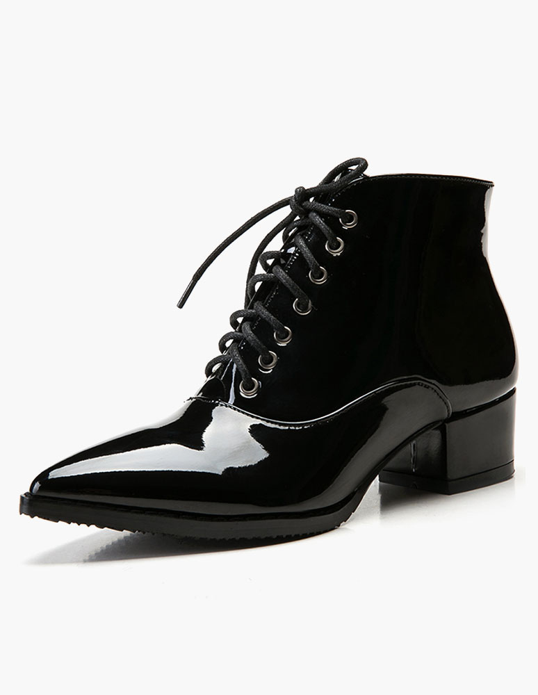 Patent PU Leather Lace Up Pointed Toe Booties