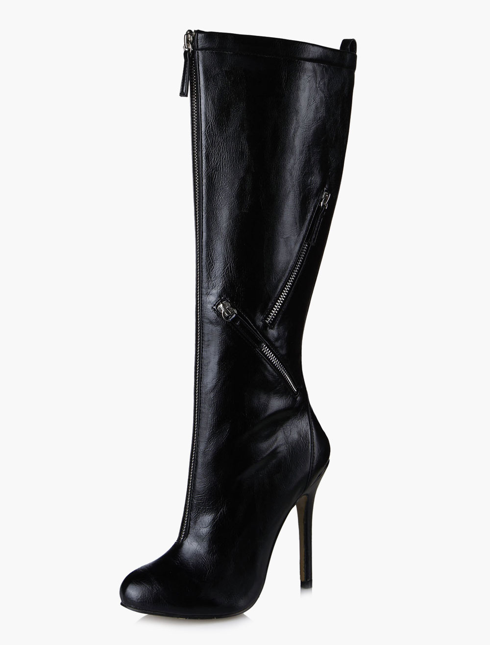 Black Zipper High Heel Mid Calf Boots