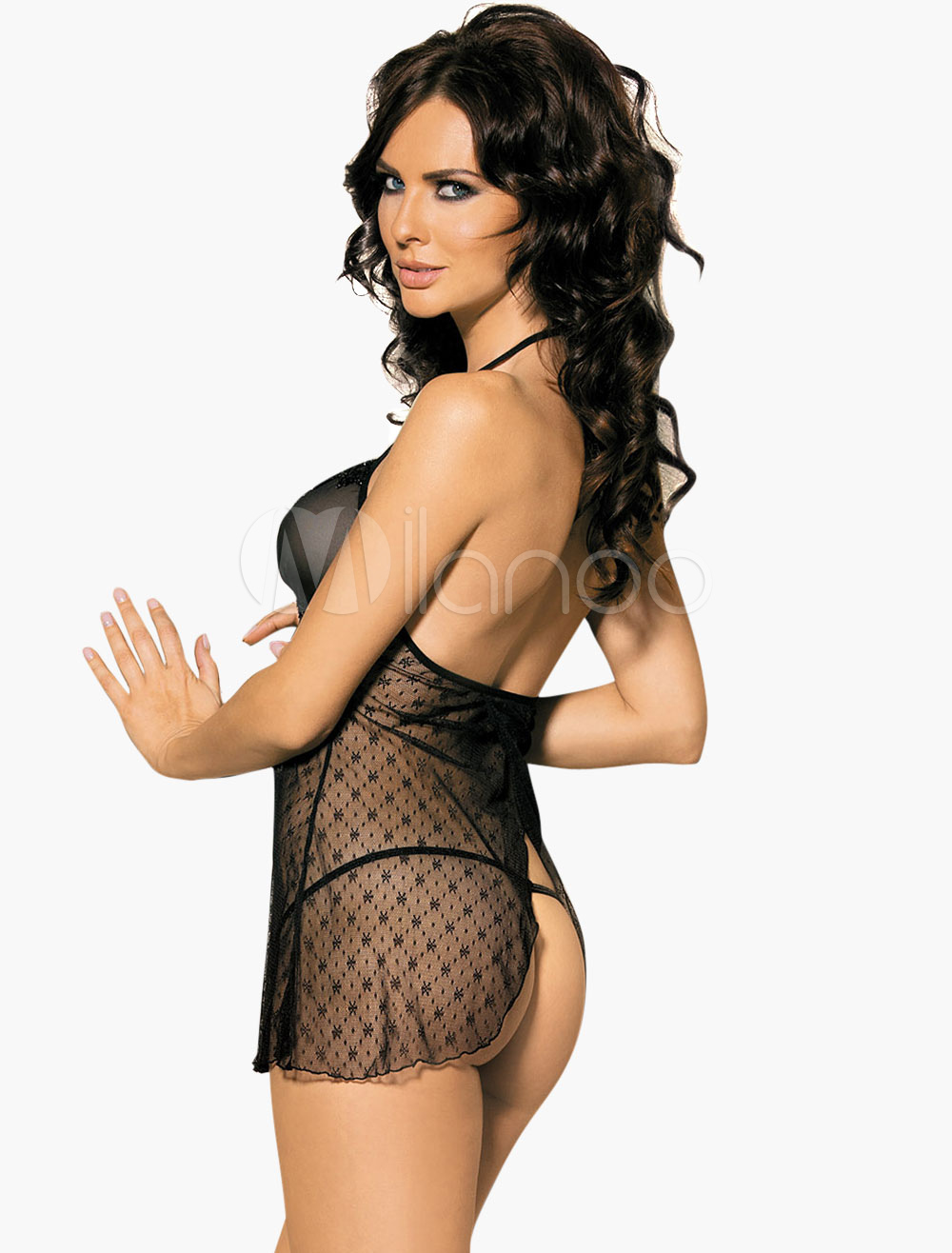 Black Split Semi-Sheer Babydoll