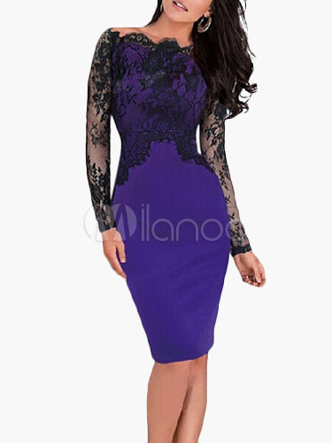 Buy Women's Lace Sexy Bodycon Dress Long Sleeve Eyelash Sheath Dress for $23.99 in Milanoo store