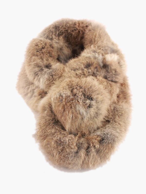 nuovo stile 2faee dd1a4 Sciarpa di pelliccia di coniglio marrone
