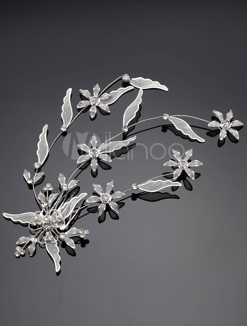Intricate Flower and Leaf Bridal Hair Comb with Rhinestones