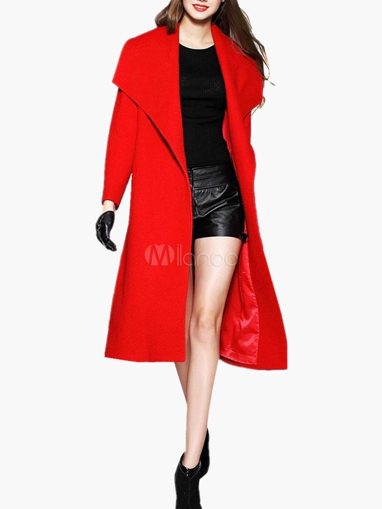 Long Sleeve Big Size Collar Wool Blend Coat