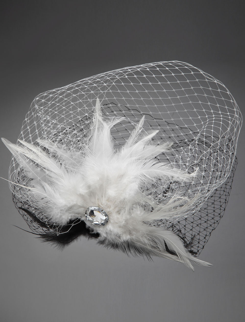 Vintage Inspired Wedding Blusher Veil with Rhinestone and Feather