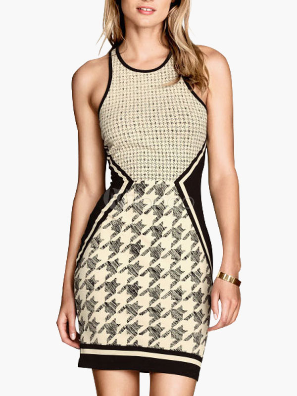 Buy Houndstooth Print Sleeveless Slim Bodycon Dress for $14.39 in Milanoo store