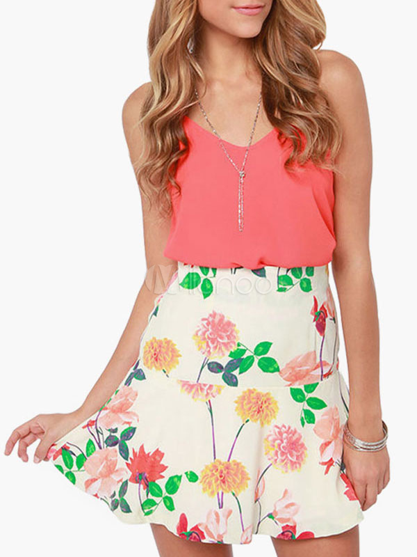 Buy White Floral Print Flared Summer Skirt for $17.09 in Milanoo store