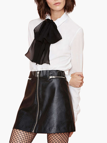 Black PU Leather Skirt With Zippers Trim Cheap clothes, free shipping worldwide