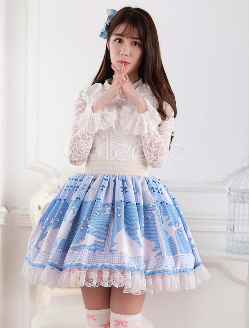 Swan Print Lace Lolita Skirt
