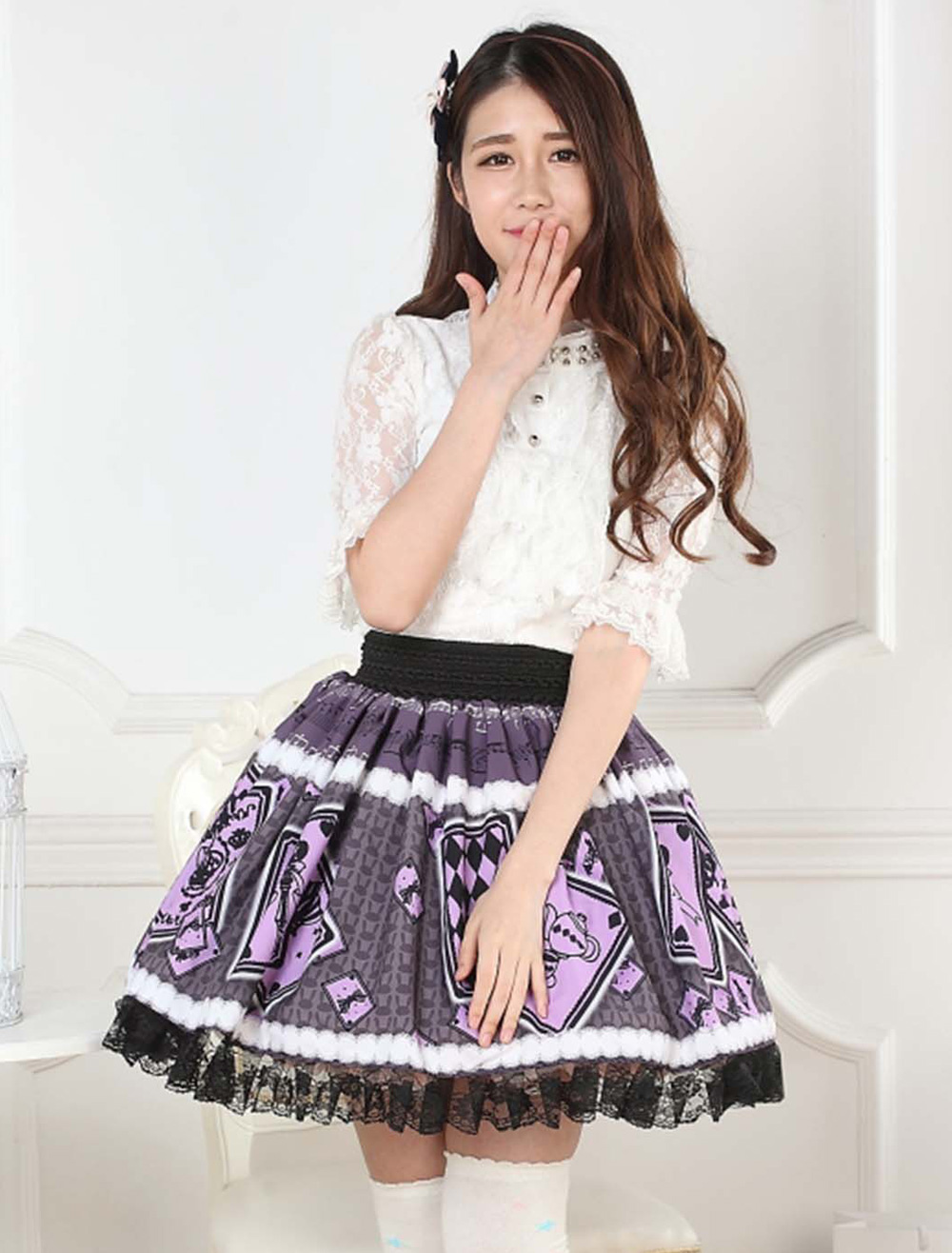 Buy Purple Lolita Skirt Alice Poker Printed Lace Trim for $28.99 in Milanoo store