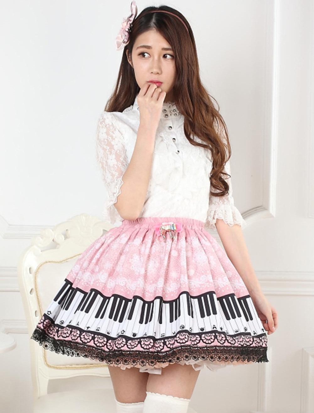 Buy Sweet Pink Piano Print Lolita Skirt Lace Trim for $27.19 in Milanoo store