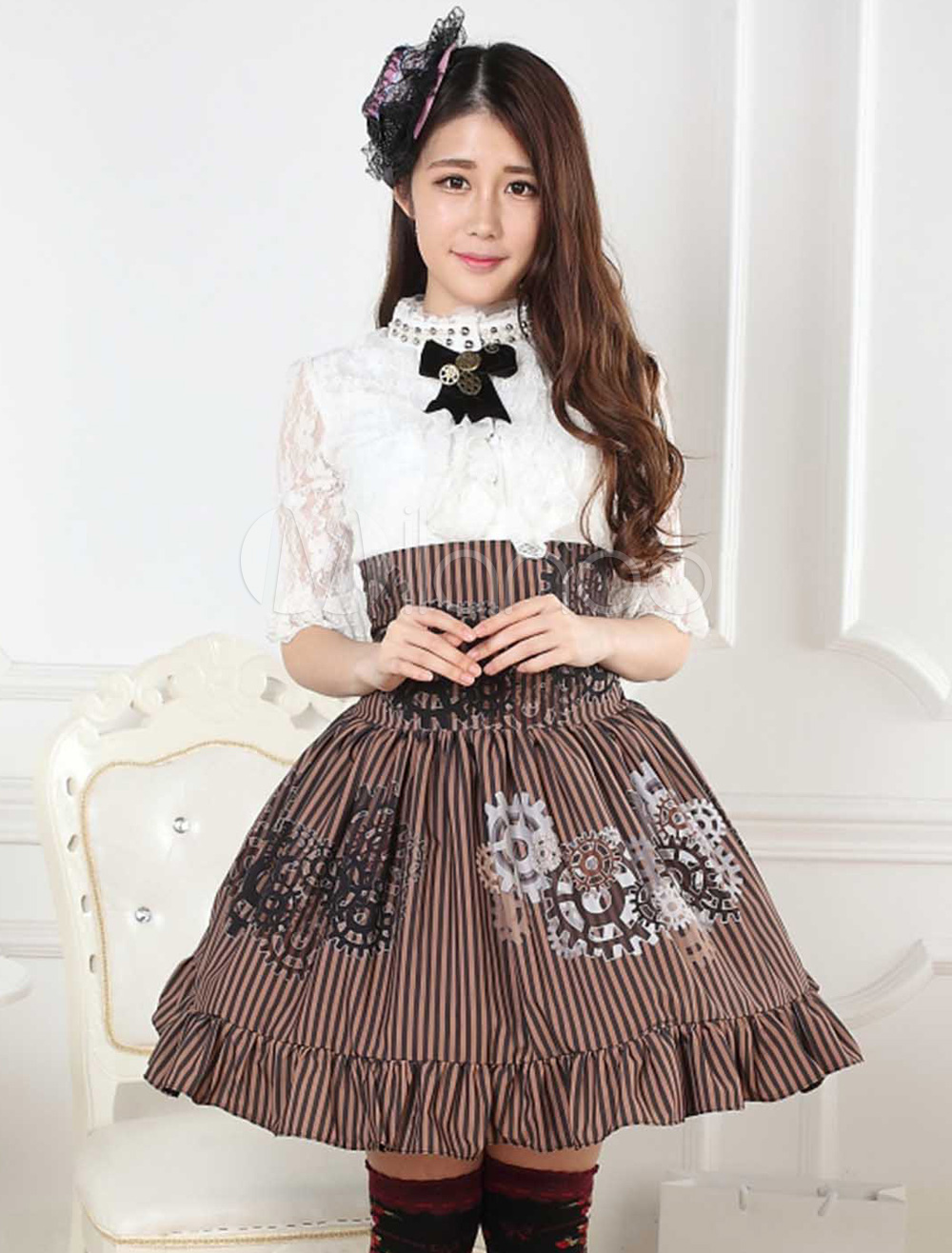 Buy Sweet Lolita Skirt Black And White Gear Steampunk SK Lolita Skirt for $34.19 in Milanoo store