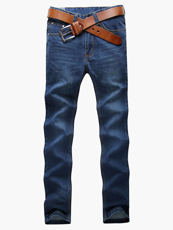 Buy Jean For Men Blue Casual Pant Straight Leg Denim Jean for $35.99 in Milanoo store