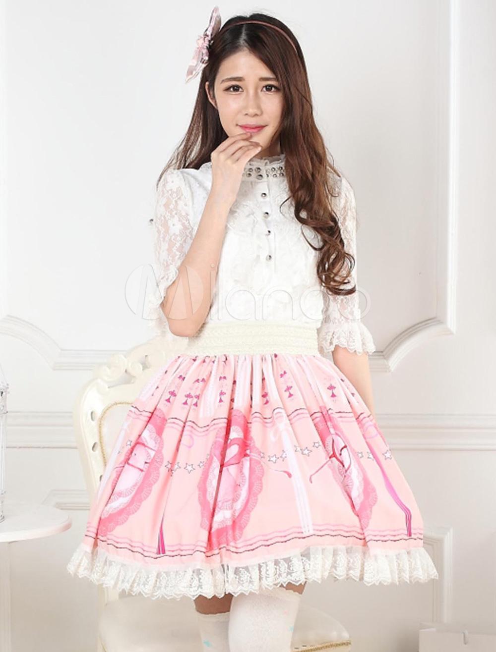 Milanoo / Printed Lace Lolita Skirt
