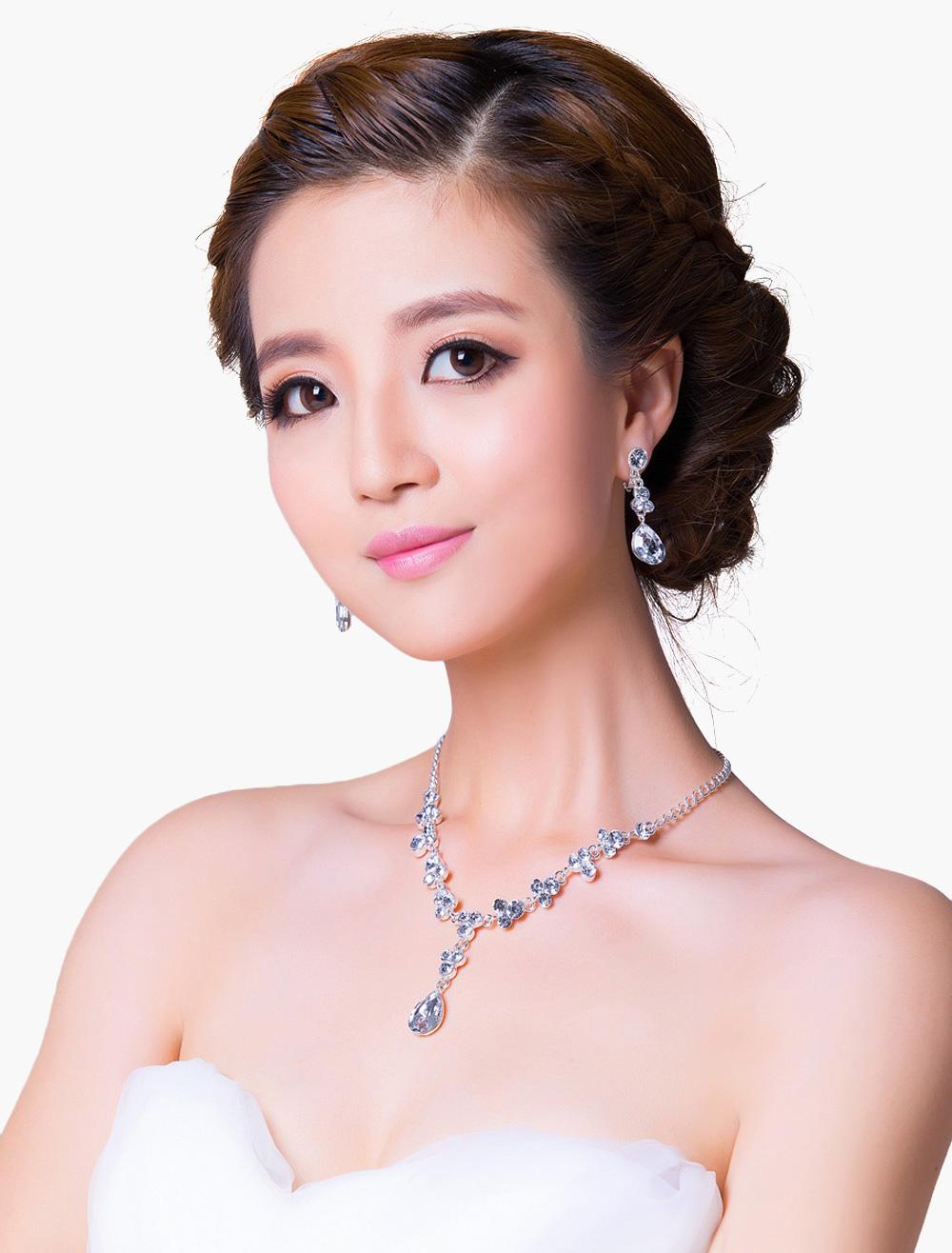 Graceful Teardrop Wedding Jewelry Set