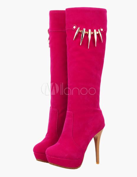 Stiletto Heel Micro Suede Knee Length Boots