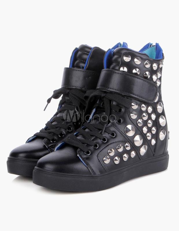 chaussures clout es en pu noir lacets avec velcro. Black Bedroom Furniture Sets. Home Design Ideas