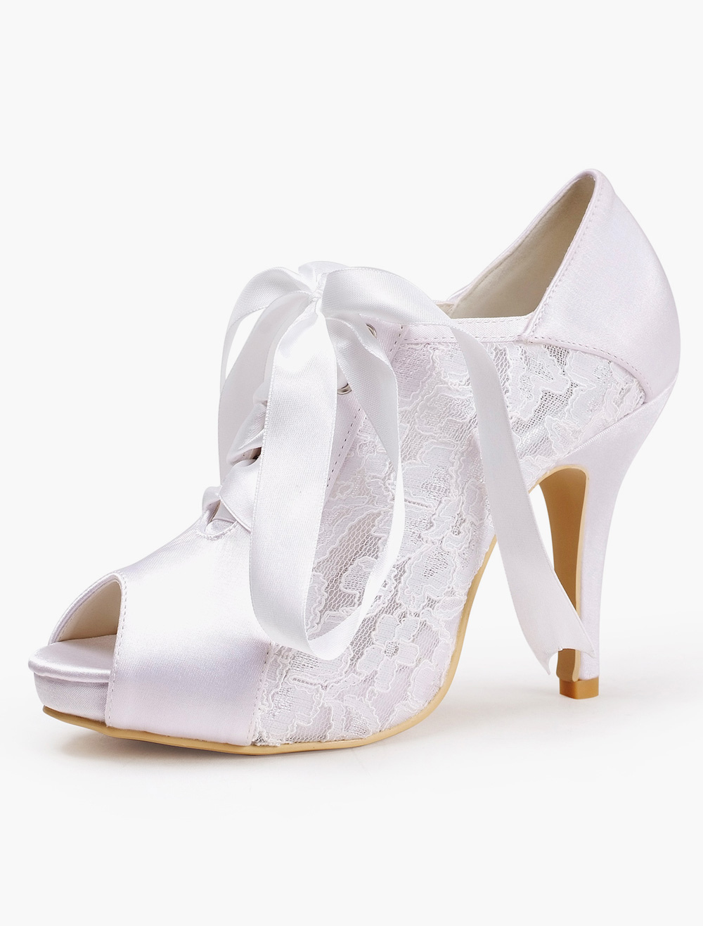 Silk And Satin Lace Peep Toe Pumps For Bride