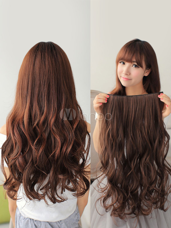 Curly Hair Extension Body Wave Long Brown Women Hair Slice