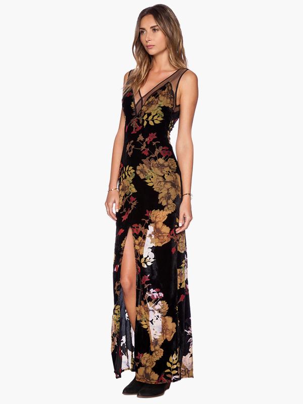 191d39ddf7c5 ... Multi Color V-neck Vintage Floral Print Split Chiffon Maxi Dress -No.2  ...