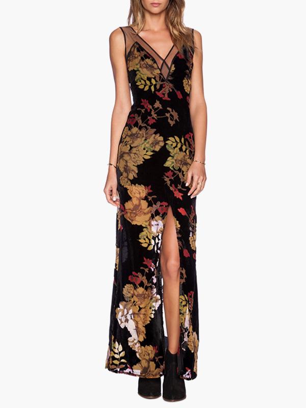 eb7e7c0ce11f Multi Color V-neck Vintage Floral Print Split Chiffon Maxi Dress -No.1 ...