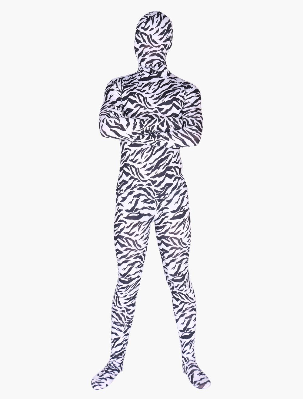 Zebra Print Zentai Suit Halloween Lycra Spandex Animal Costume Halloween