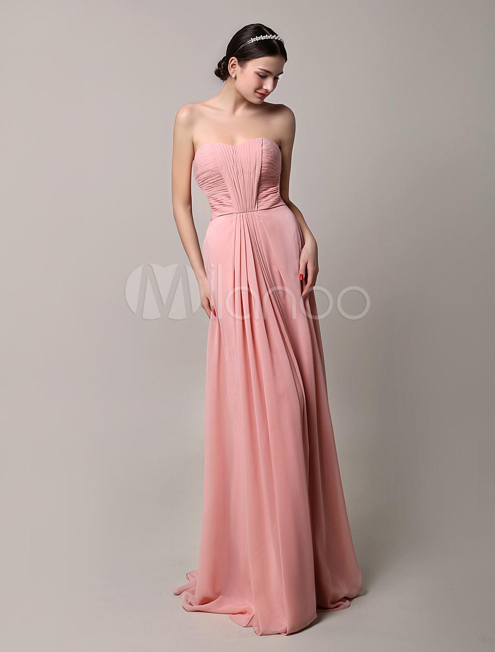 finest selection 7446e 8e3da 2019 lungo rosa Chiffon plissettato abito damigella d'onore senza spalline  con schiena aperta