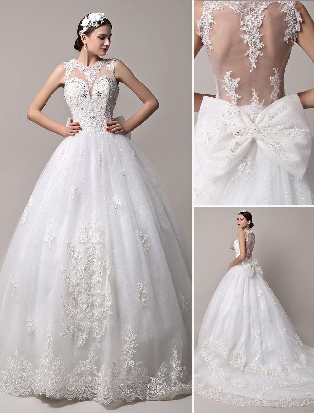 Glitter Sheer Back Chapel Train Wedding Gown with Heavily Beaded Bodice Milanoo
