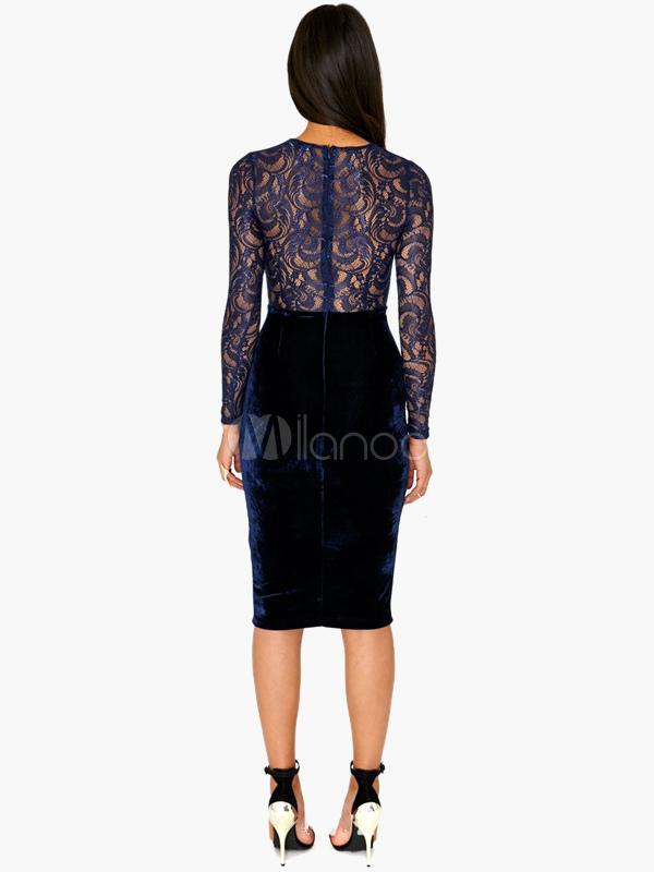 robe moulante en velours bleu fonc brod demi transparence. Black Bedroom Furniture Sets. Home Design Ideas
