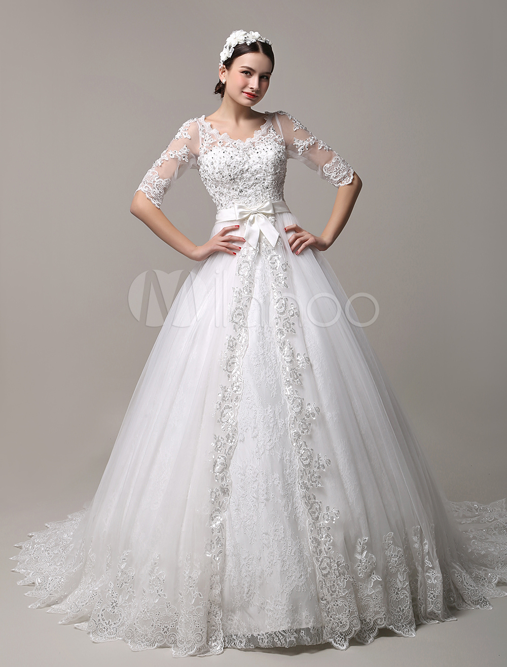 Gorgeous Cathedral Train V-Neck Lace Wedding Dress with Cutout Back Milanoo