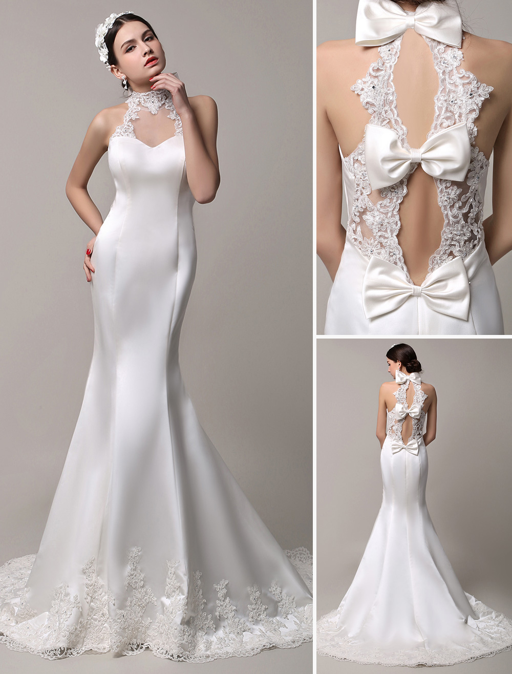 Stunning High Neck Mermaid Style Bridal Gown with Sheer Lace Back Milanoo