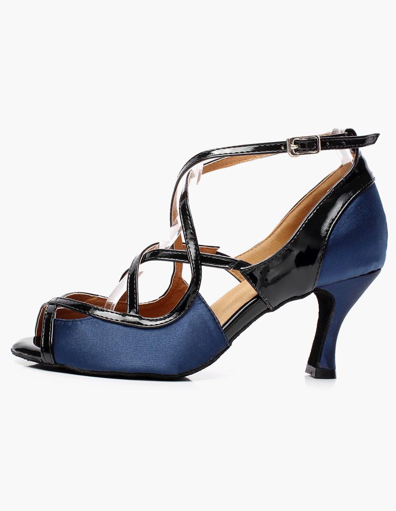 ... Chaussures de danse latine en soie et satin bleu à talon évasé-No.2 ...