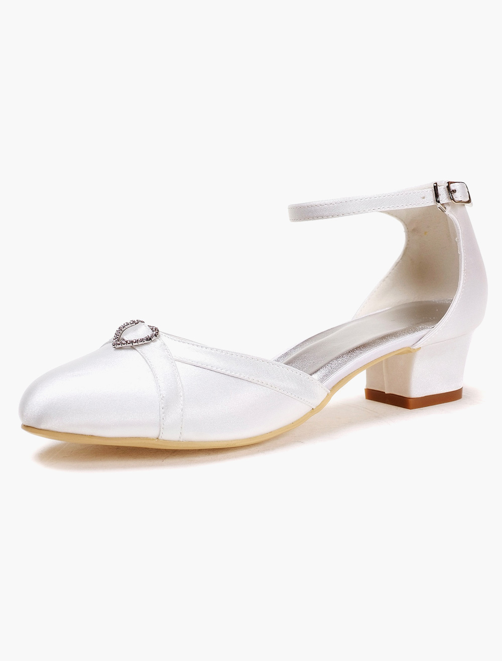 White Silk And Satin Rhinestones Pumps For Bride
