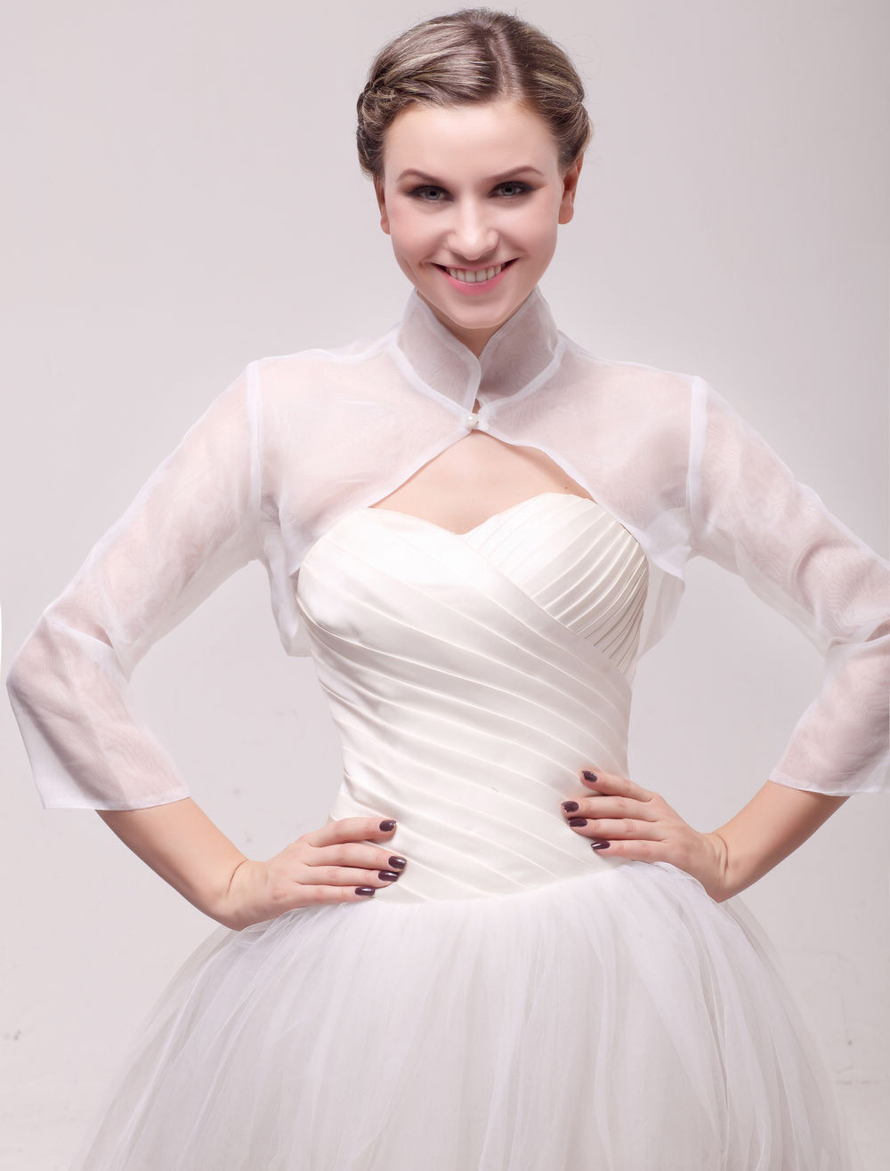 Sheer High Collar 3/4 Sleeve Tulle Shrug
