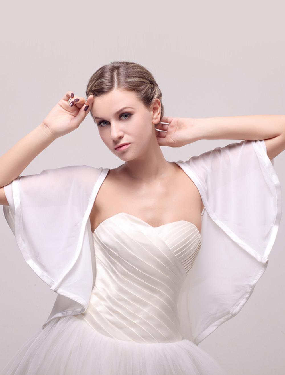 Half Sleeve Chiffon Coverup for Bride