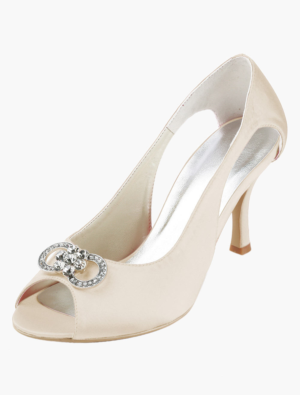 Rhinestones Cut Out Peep Toe Silk And Satin Bridal Pumps