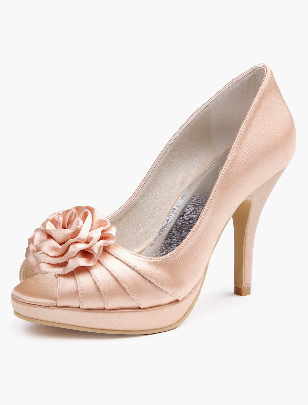 Buy Pleated Slip-On Peep Toe Silk And Satin Evening and Bridal Platforms for $53.99 in Milanoo store
